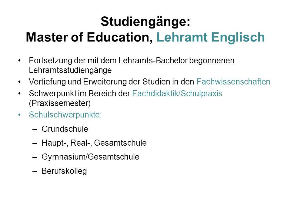 Studiengänge: Master of Education, Lehramt Englisch