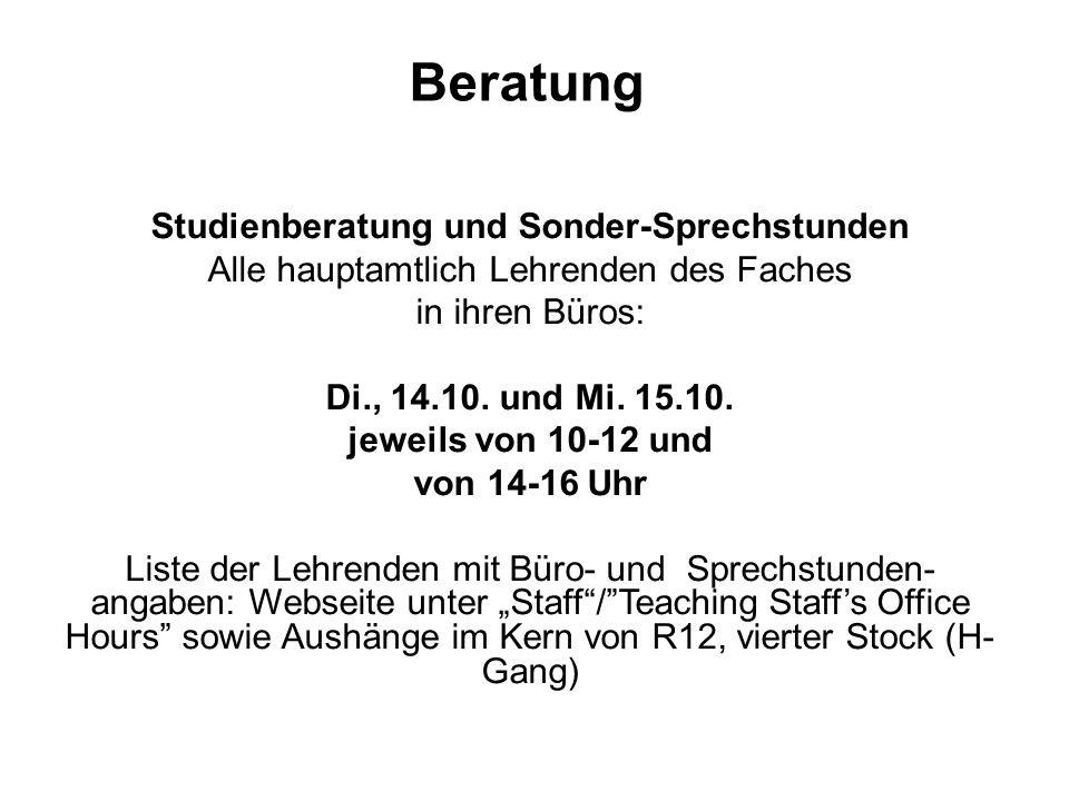 Beratung Studienberatung und Sonder-Sprechstunden
