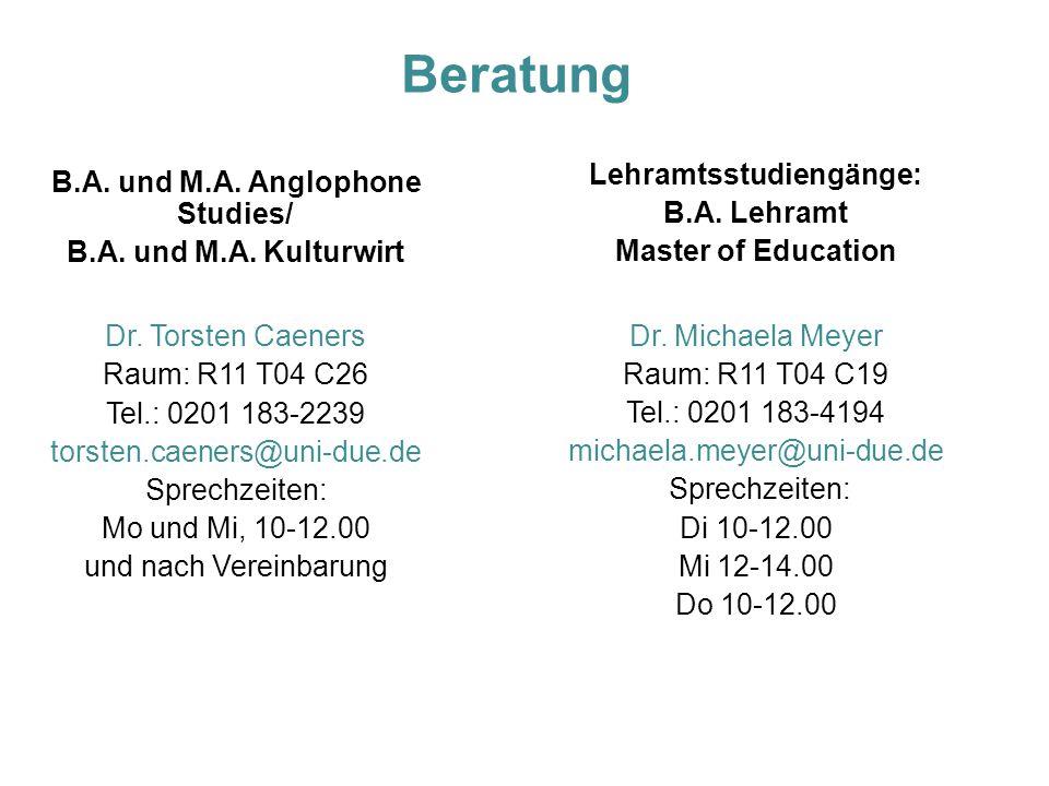 Lehramtsstudiengänge: B.A. und M.A. Anglophone Studies/