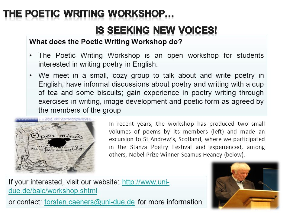 The Poetic Writing Workshop… is seeking new voices!
