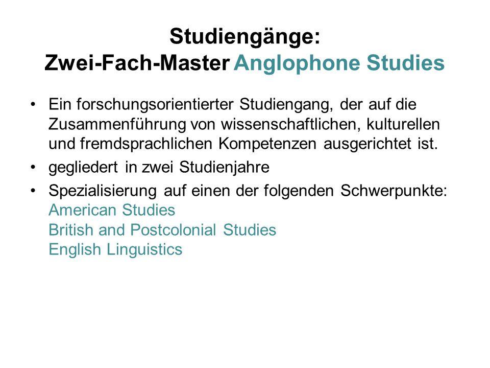 Studiengänge: Zwei-Fach-Master Anglophone Studies