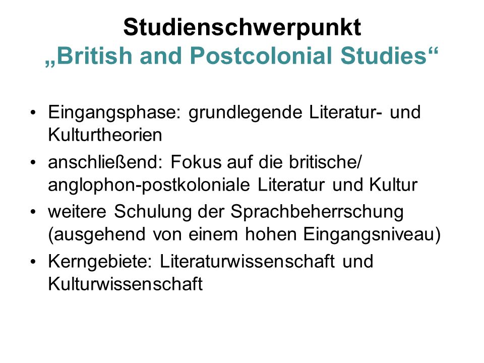 "Studienschwerpunkt ""British and Postcolonial Studies"
