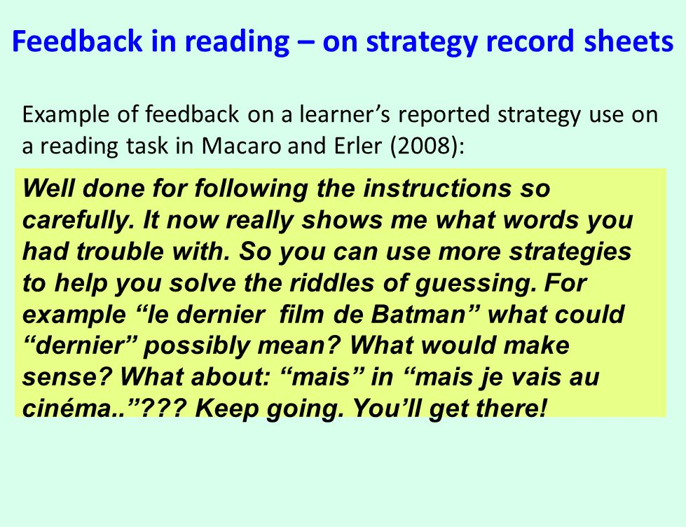Feedback in reading – on strategy record sheets