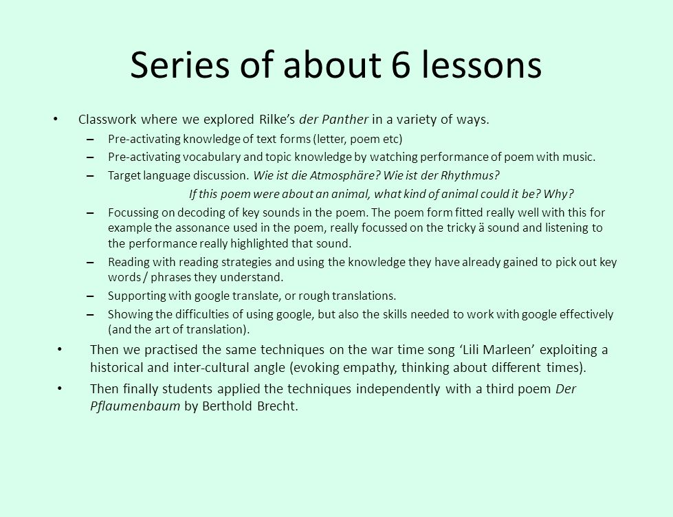Series of about 6 lessons