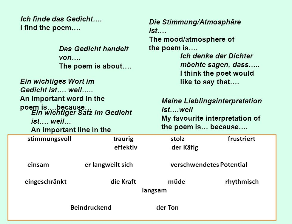 Die Stimmung/Atmosphäre ist…. The mood/atmosphere of the poem is….