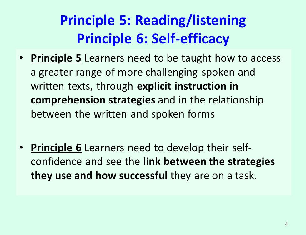 Principle 5: Reading/listening Principle 6: Self-efficacy
