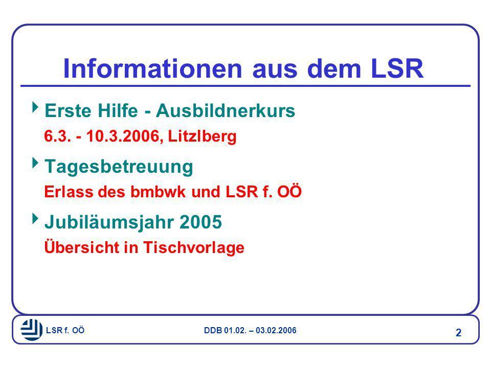 Informationen aus dem LSR