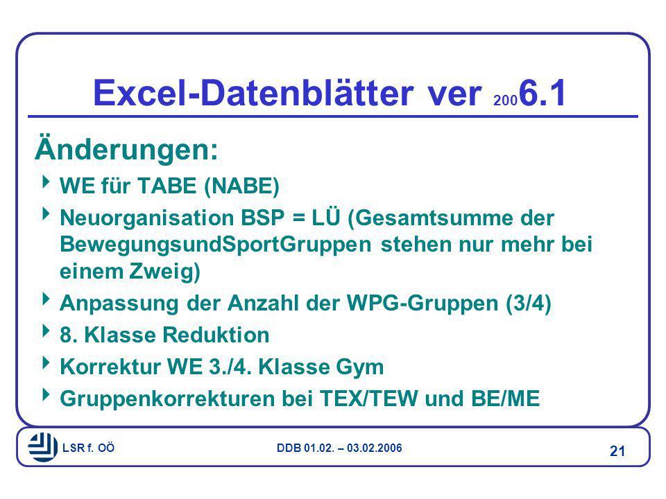 Excel-Datenblätter ver 2006.1