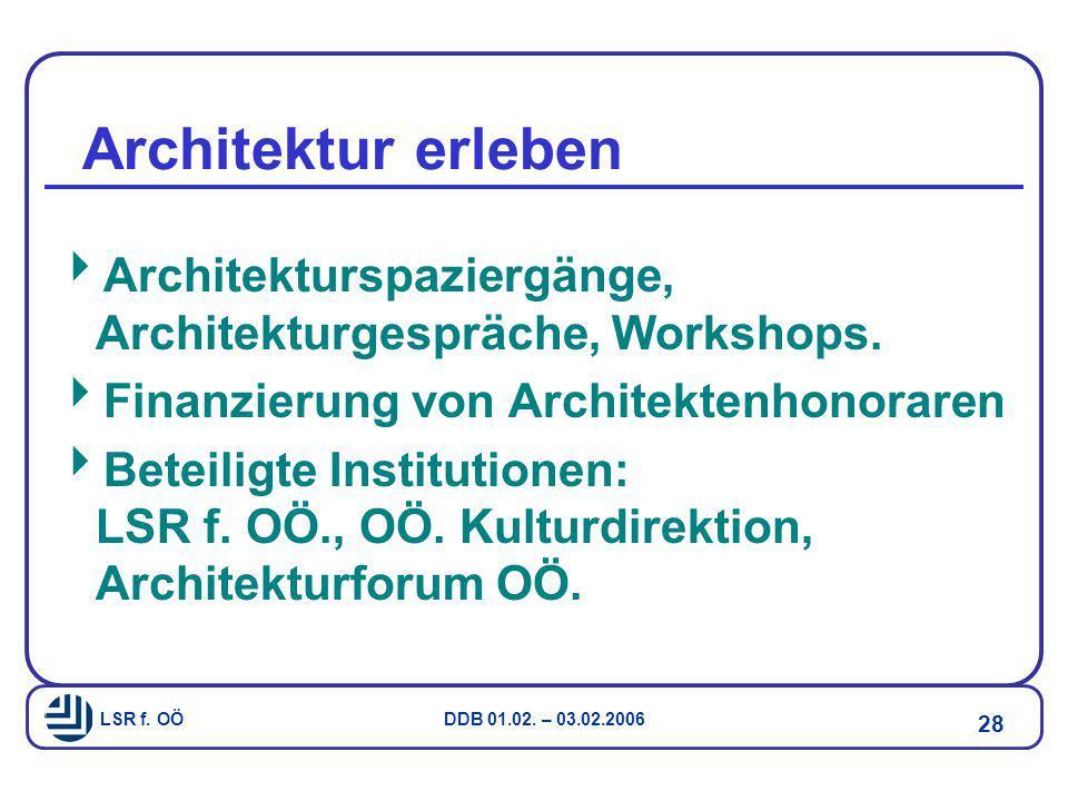 Architektur erleben Architekturspaziergänge, Architekturgespräche, Workshops. Finanzierung von Architektenhonoraren.