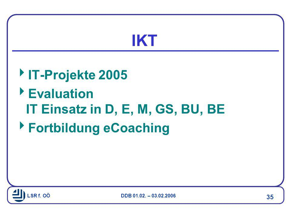 IKT IT-Projekte 2005 Evaluation IT Einsatz in D, E, M, GS, BU, BE