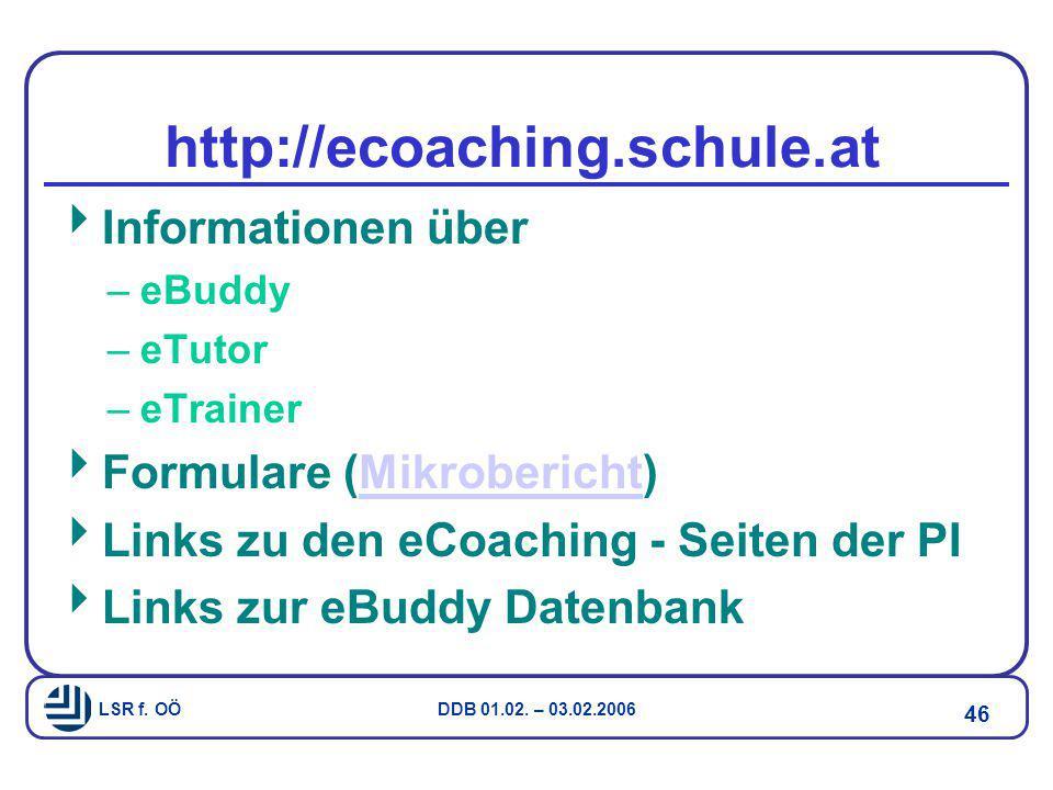 http://ecoaching.schule.at Informationen über Formulare (Mikrobericht)