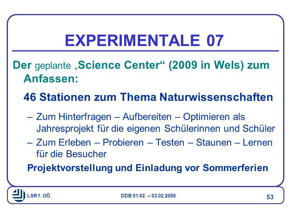 """EXPERIMENTALE 07 Der geplante """"Science Center (2009 in Wels) zum Anfassen: 46 Stationen zum Thema Naturwissenschaften."""