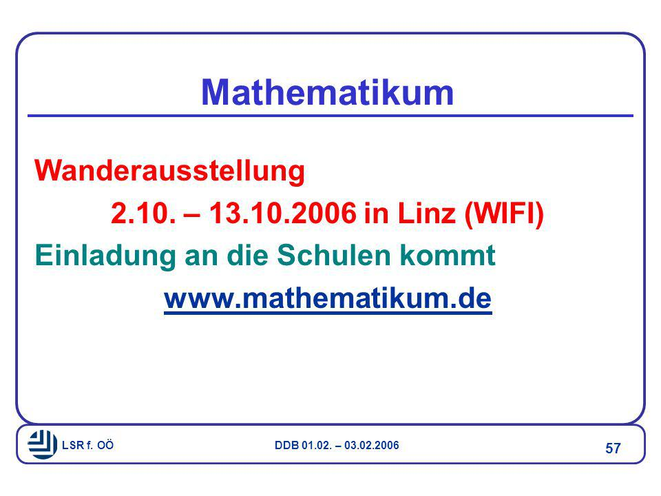 Mathematikum Wanderausstellung 2.10. – 13.10.2006 in Linz (WIFI)
