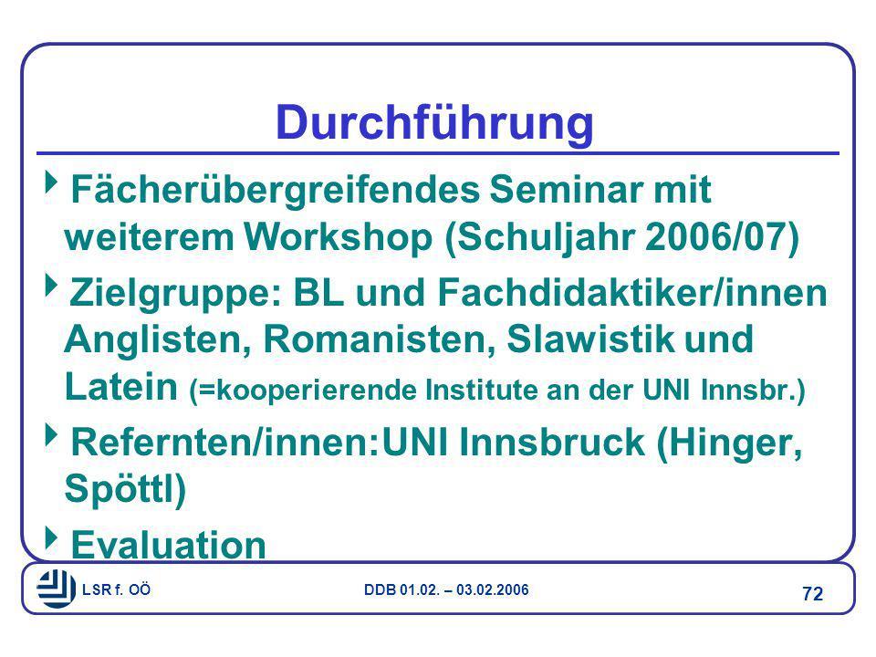 Durchführung Fächerübergreifendes Seminar mit weiterem Workshop (Schuljahr 2006/07)