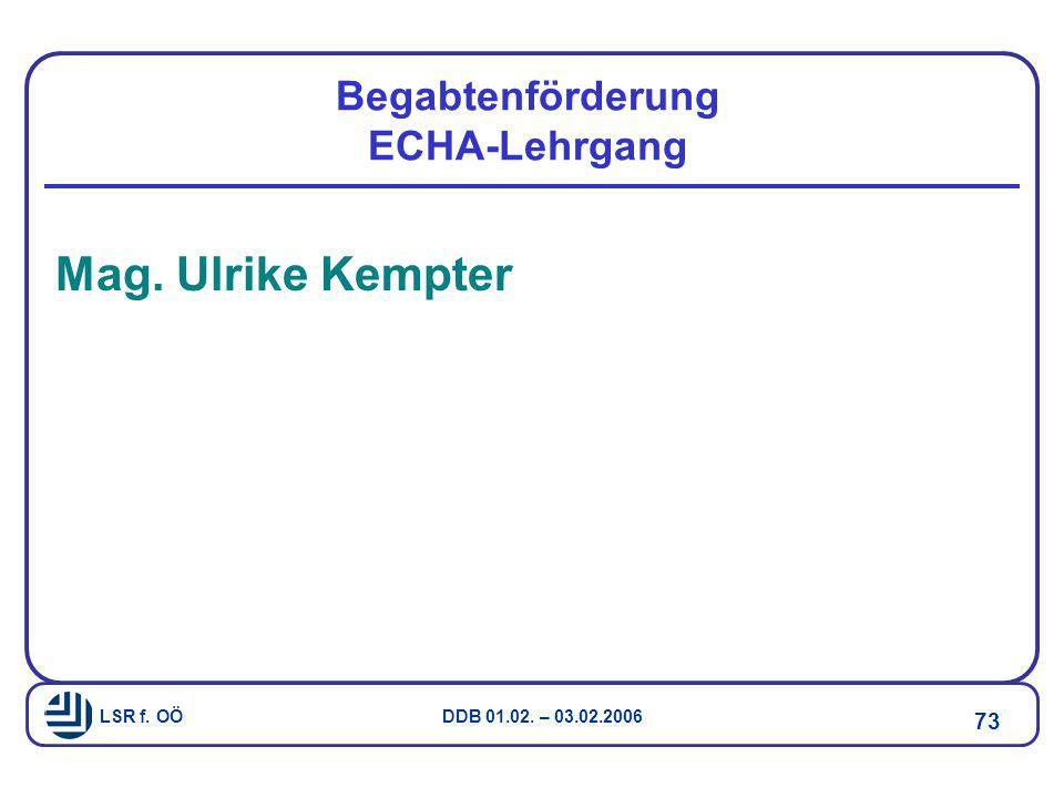 Begabtenförderung ECHA-Lehrgang