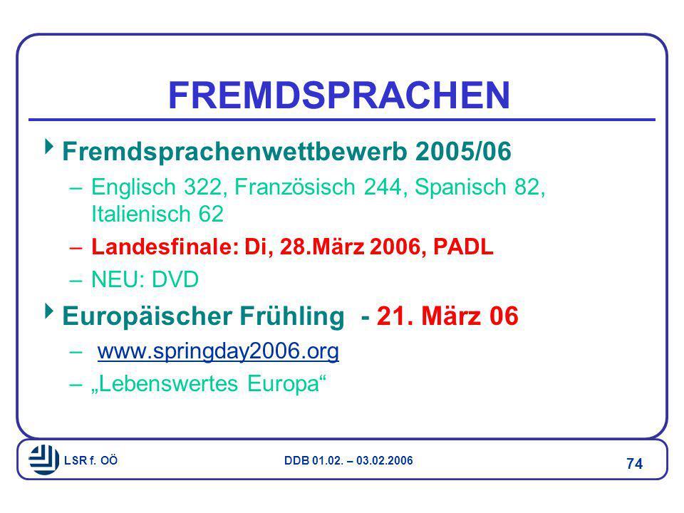 FREMDSPRACHEN Fremdsprachenwettbewerb 2005/06