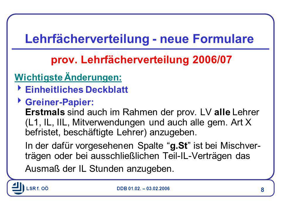 Lehrfächerverteilung - neue Formulare