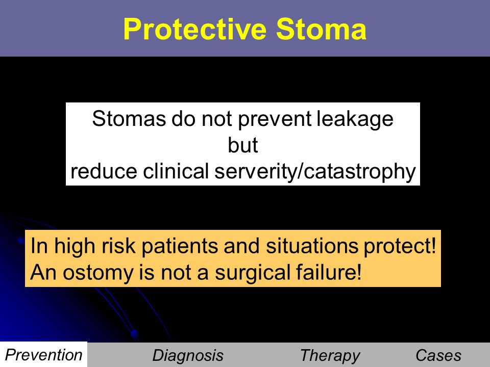 Protective Stoma Stomas do not prevent leakage but
