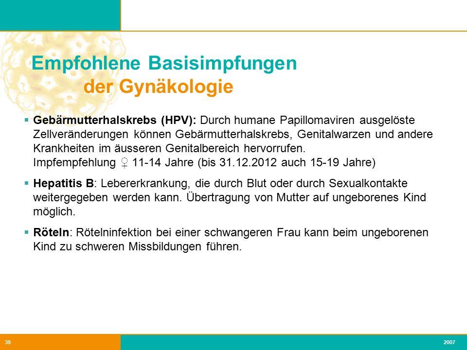 Empfohlene Basisimpfungen der Gynäkologie