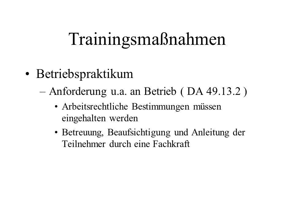 Trainingsmaßnahmen Betriebspraktikum