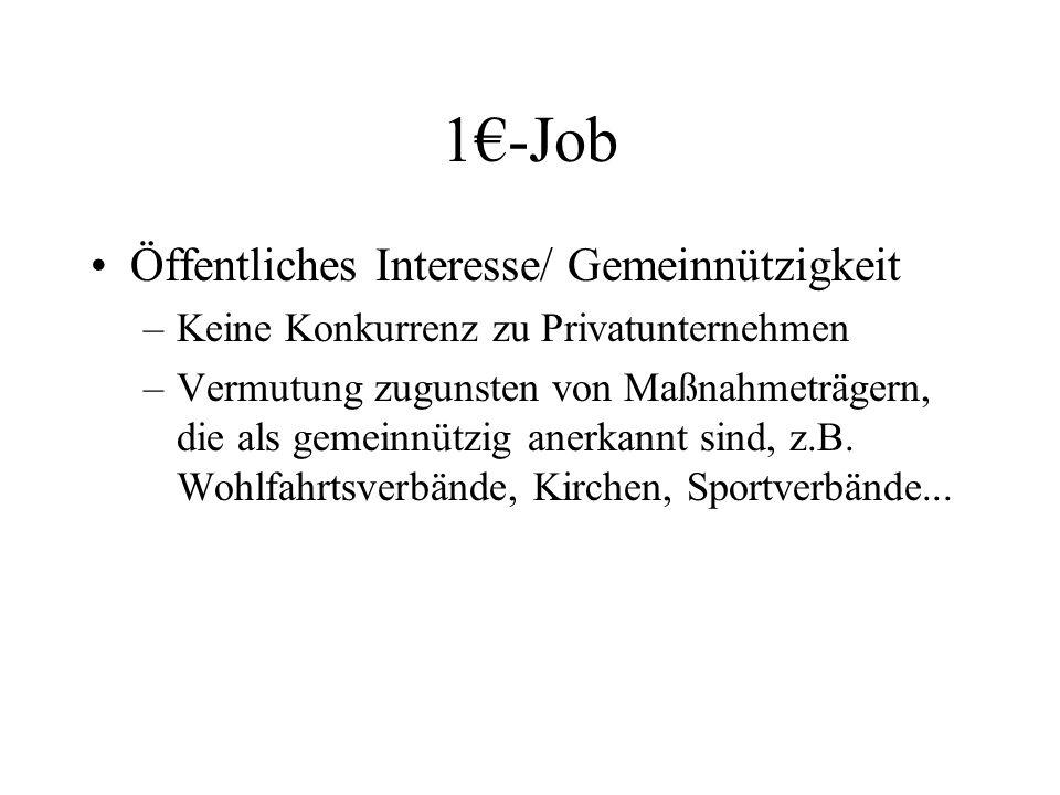 1€-Job Öffentliches Interesse/ Gemeinnützigkeit