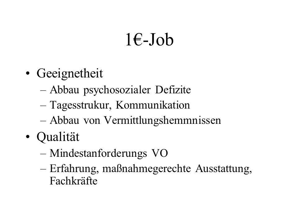 1€-Job Geeignetheit Qualität Abbau psychosozialer Defizite