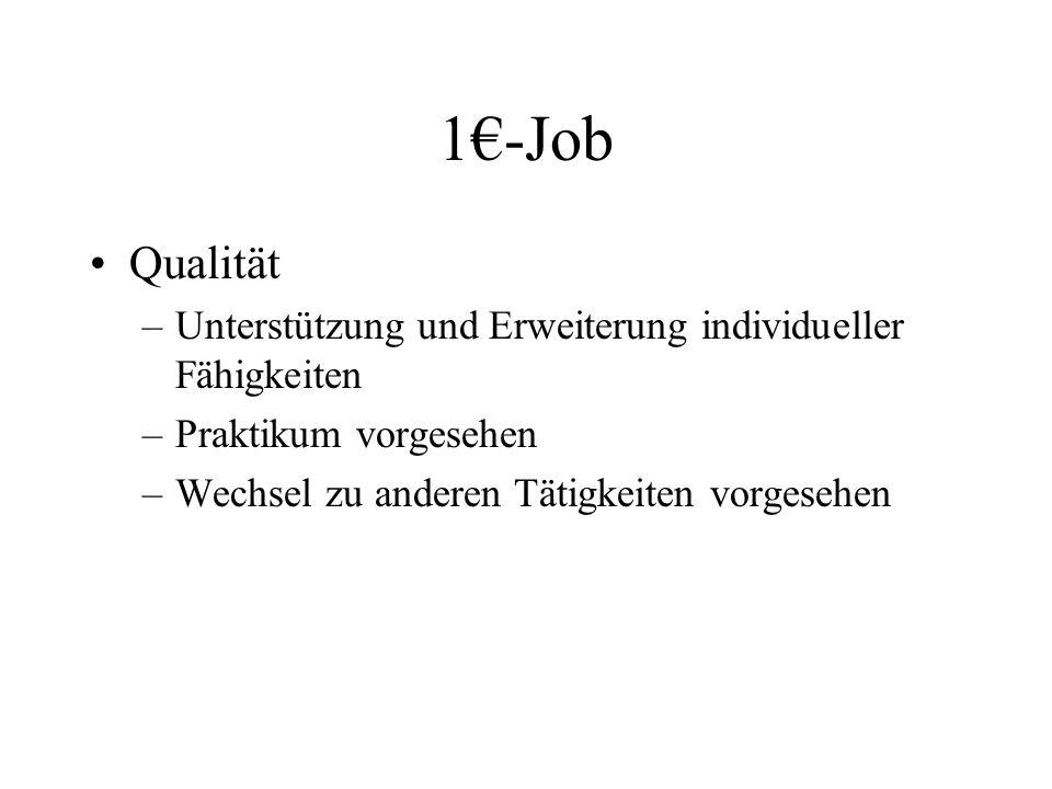 1€-Job Qualität. Unterstützung und Erweiterung individueller Fähigkeiten.
