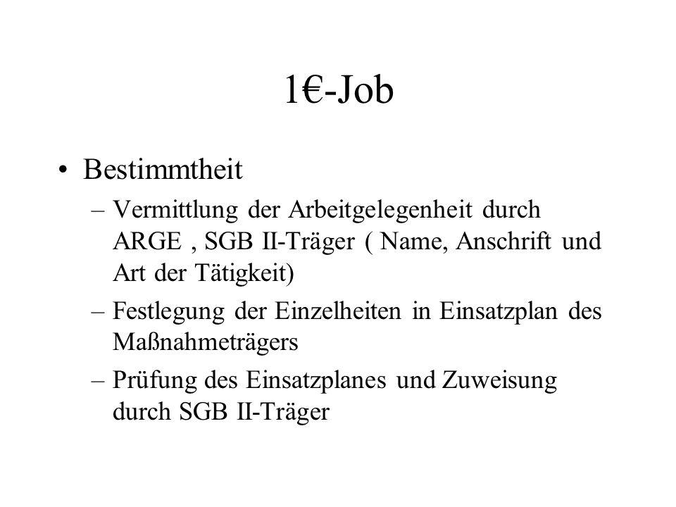 1€-Job Bestimmtheit. Vermittlung der Arbeitgelegenheit durch ARGE , SGB II-Träger ( Name, Anschrift und Art der Tätigkeit)