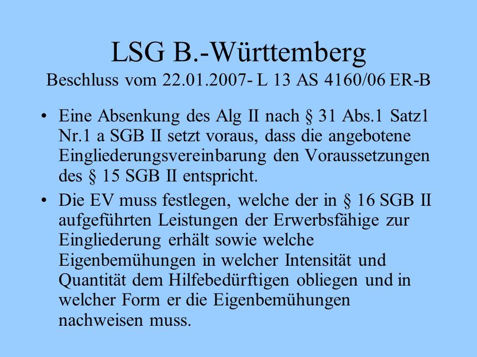 LSG B.-Württemberg Beschluss vom 22.01.2007- L 13 AS 4160/06 ER-B