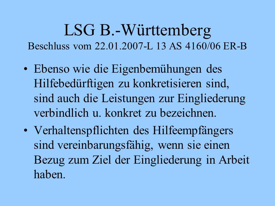 LSG B.-Württemberg Beschluss vom 22.01.2007-L 13 AS 4160/06 ER-B