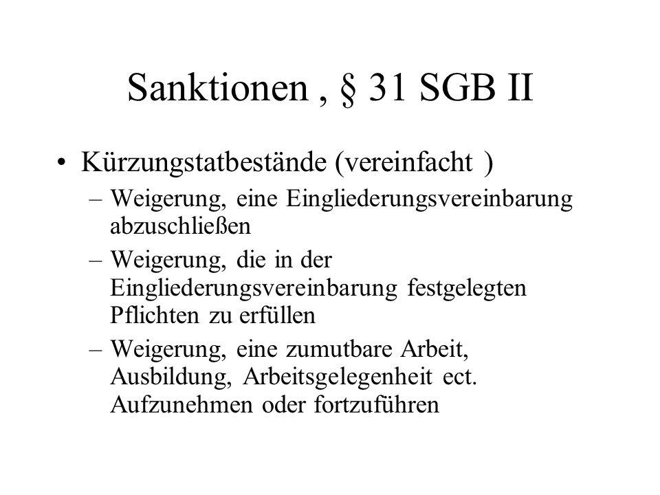 Sanktionen , § 31 SGB II Kürzungstatbestände (vereinfacht )
