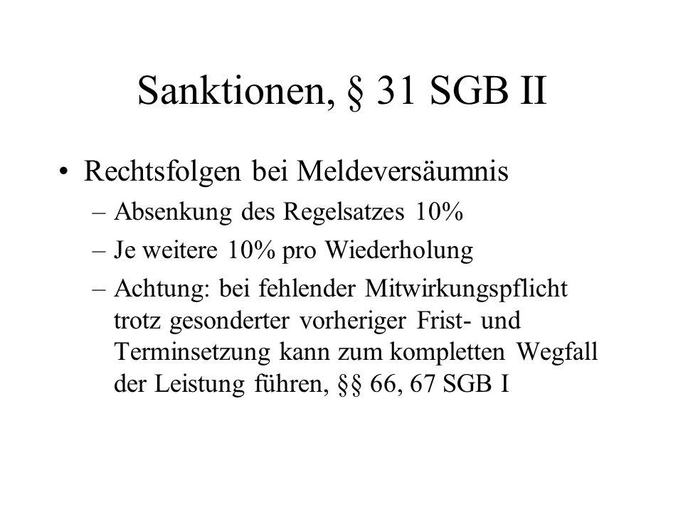 Sanktionen, § 31 SGB II Rechtsfolgen bei Meldeversäumnis