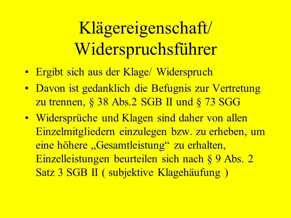 Klägereigenschaft/ Widerspruchsführer