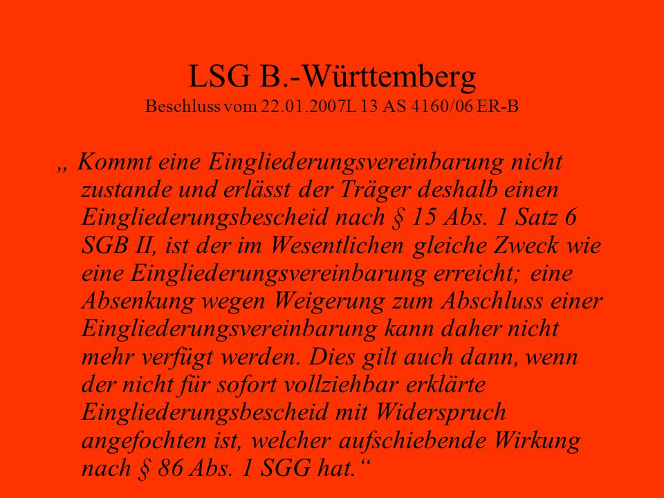 LSG B.-Württemberg Beschluss vom 22.01.2007L 13 AS 4160/06 ER-B