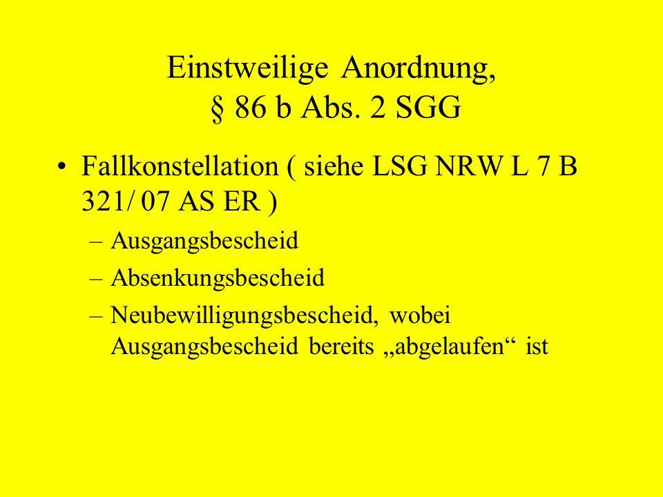 Einstweilige Anordnung, § 86 b Abs. 2 SGG