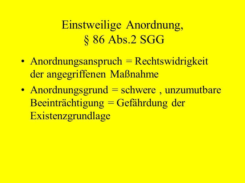 Einstweilige Anordnung, § 86 Abs.2 SGG