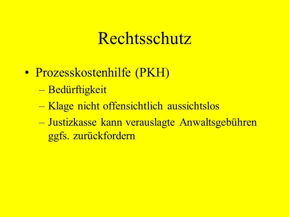Rechtsschutz Prozesskostenhilfe (PKH) Bedürftigkeit