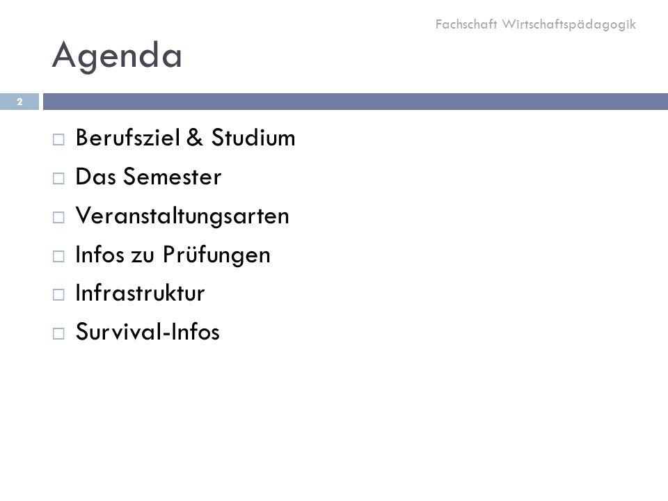 Agenda Berufsziel & Studium Das Semester Veranstaltungsarten