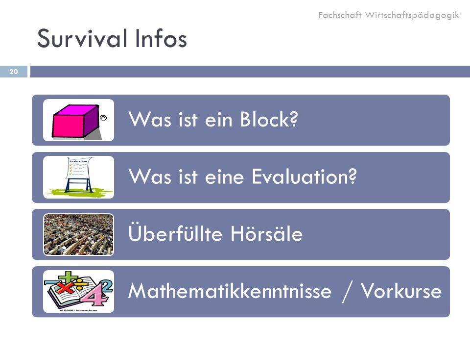 Survival Infos Was ist ein Block Was ist eine Evaluation