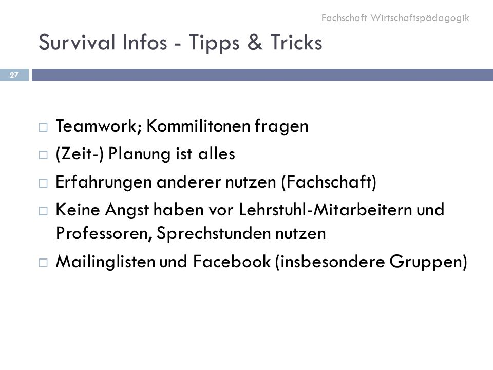 Survival Infos - Tipps & Tricks