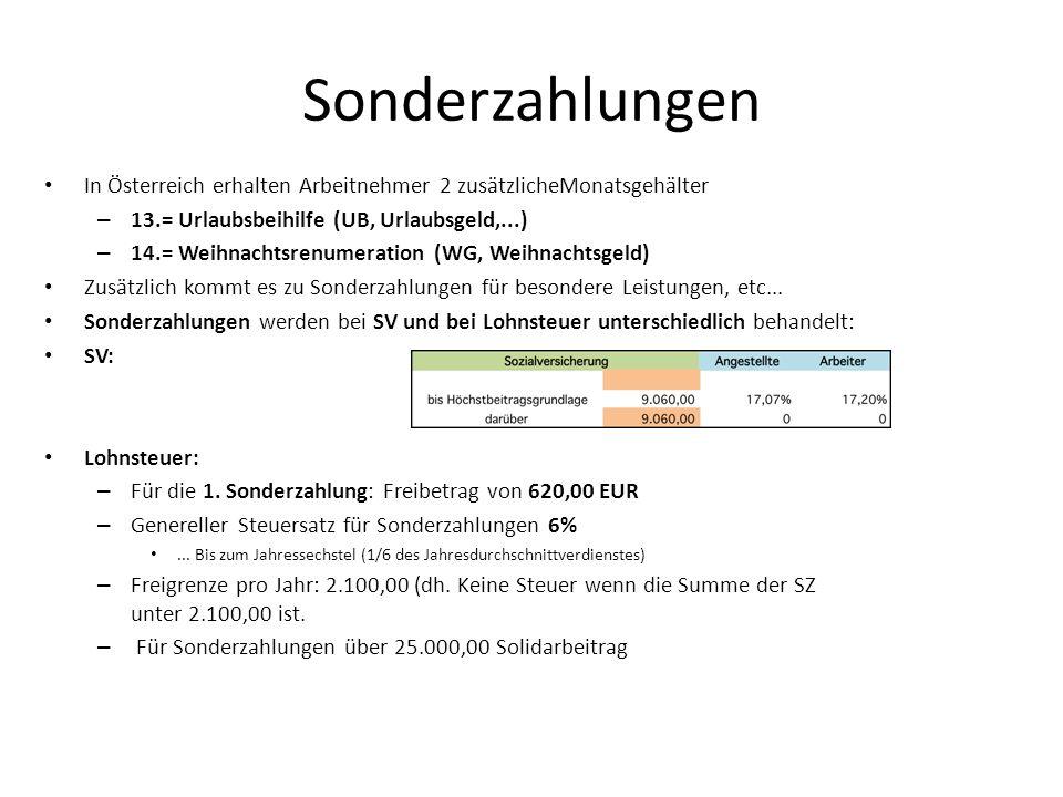 Sonderzahlungen In Österreich erhalten Arbeitnehmer 2 zusätzlicheMonatsgehälter. 13.= Urlaubsbeihilfe (UB, Urlaubsgeld,...)