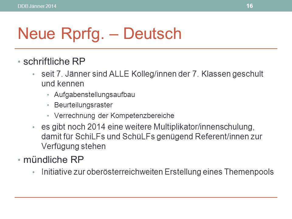Neue Rprfg. – Deutsch schriftliche RP mündliche RP