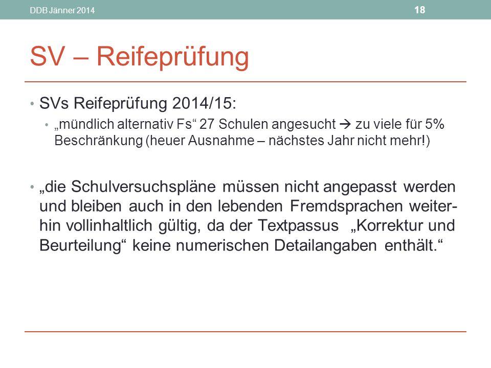 SV – Reifeprüfung SVs Reifeprüfung 2014/15: