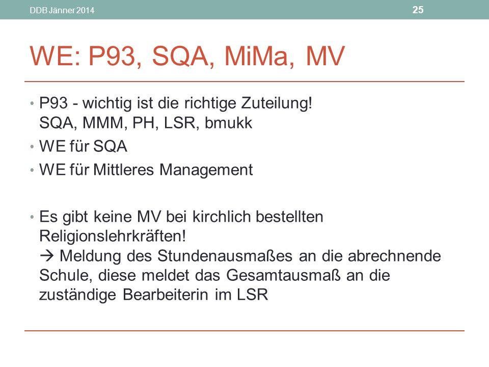 DDB Jänner 2014 WE: P93, SQA, MiMa, MV. P93 - wichtig ist die richtige Zuteilung! SQA, MMM, PH, LSR, bmukk.