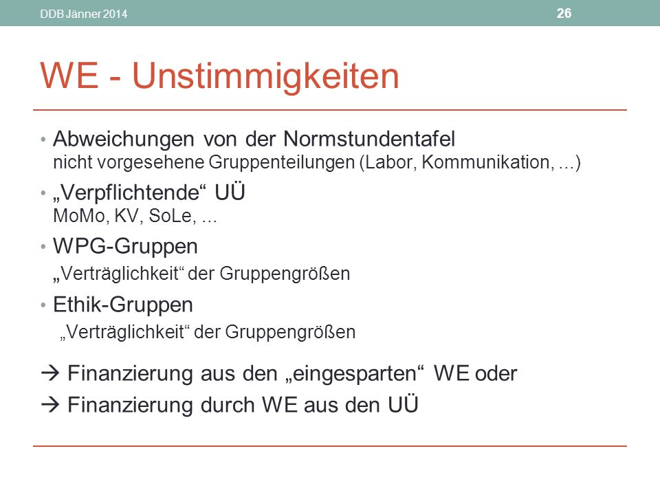 DDB Jänner 2014 WE - Unstimmigkeiten. Abweichungen von der Normstundentafel nicht vorgesehene Gruppenteilungen (Labor, Kommunikation, ...)
