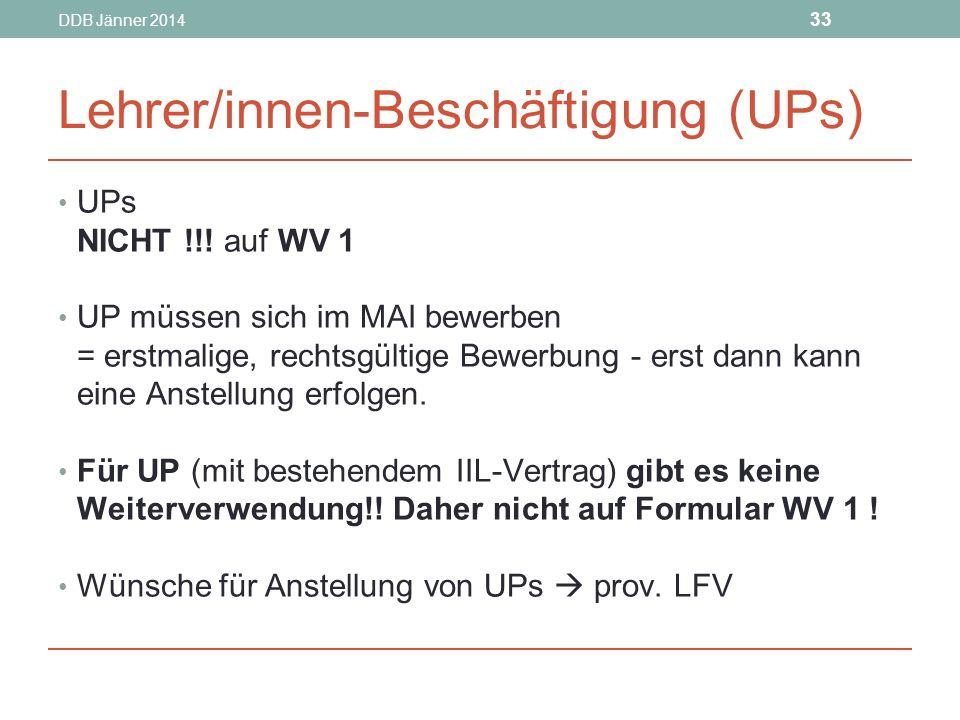 Lehrer/innen-Beschäftigung (UPs)