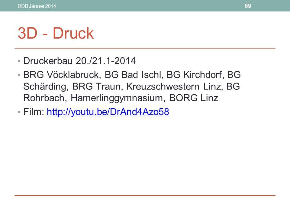 DDB Jänner 2014 3D - Druck. Druckerbau 20./21.1-2014.
