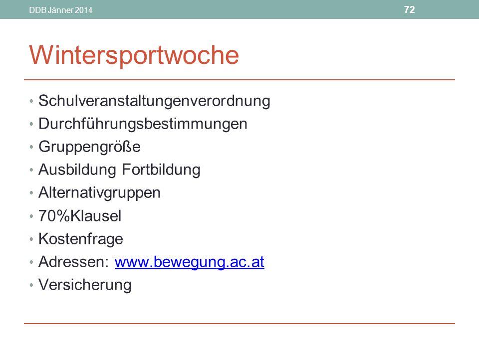 Wintersportwoche Schulveranstaltungenverordnung