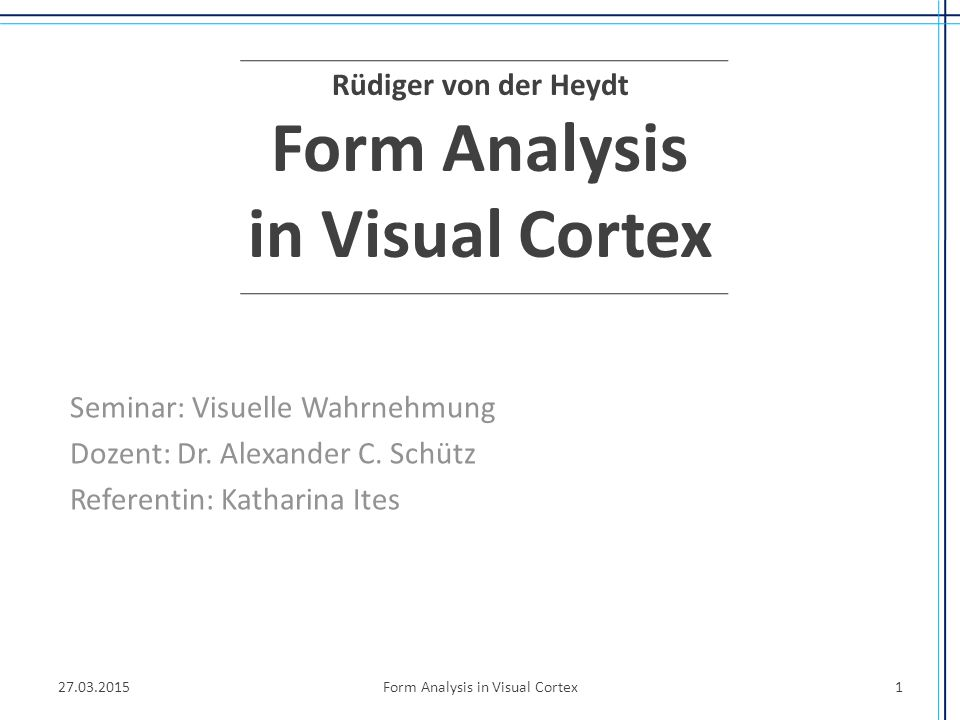 Rüdiger von der Heydt Form Analysis in Visual Cortex