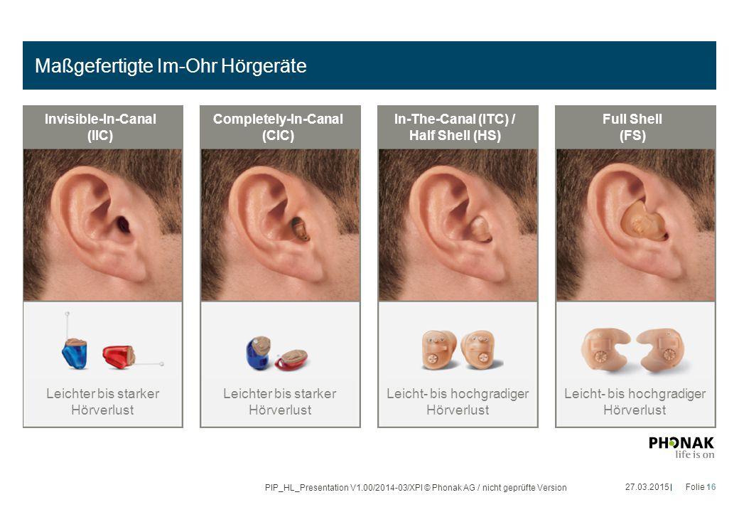 Maßgefertigte Im-Ohr Hörgeräte